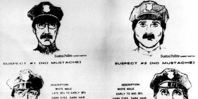 These sketches, released by the FBI, show the two male suspects who authorities say stole an estimated $500 million in famous paintings from Boston's Isabella Stewart Gardner Museum on March 18, 1990. One was said to be wearing a fake mustache during the heist.
