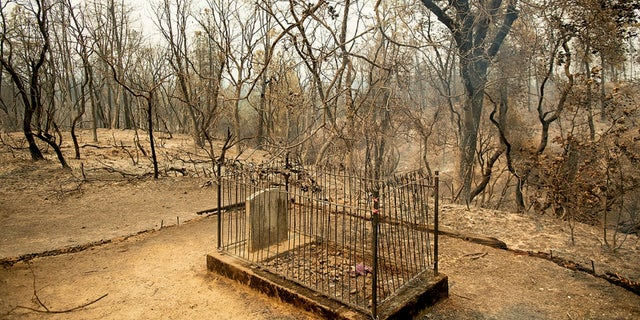 The historic Pioneer Baby's Grave rests among trees scorched by the Carr Fire in Shasta, Calif., on Friday, July 27, 2018.