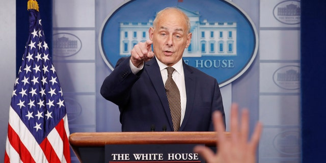 White House Chief of Staff John Kelly takes questions from the media while addressing the daily briefing at the White House in Washington, U.S., October 12, 2017. REUTERS/Kevin Lamarque - HP1EDAC1F1Q8V
