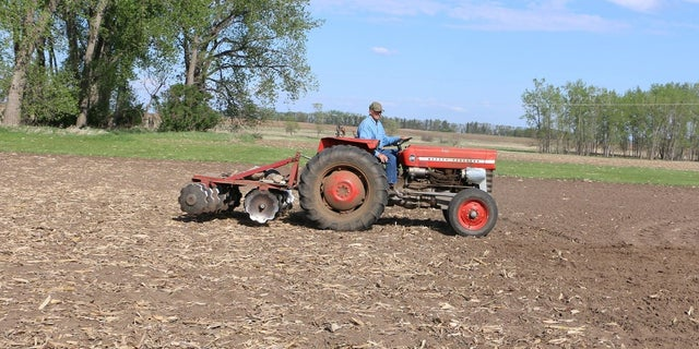 Gene Hanson has plowed numerous messages into his bean field.