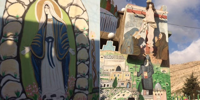 Artwork in the streets of Alqosh, a formerly Christian village some 30 miles northof Mosul now partly controlled by ISIS.