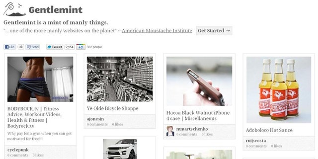 "Meet Gentlemint, a site described as ""Pinterest for manly men."""