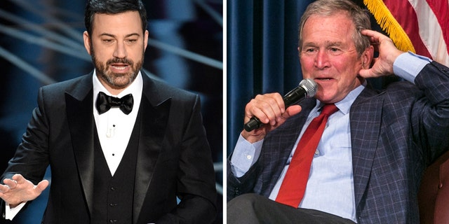 """George W. Bush (right) appeared on """"Jimmy Kimmel Live"""" on March 2, 2017 to promote his new book """"Portraits of Courage: A Commander in Chief's Tribute to America's Warriors."""" He also praised the late night host's Oscars monologue"""