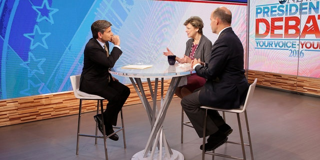 """Co-hosts (from l-r) George Stephanopoulos, Cokie Roberts and Matt Dowd discuss the final presidential debate on """"Good Morning America,"""" Thursday, October 20, 2016."""