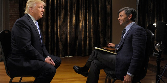 """George Stephanopoulos interviews Donald Trump on """"This Week with George Stephanopoulos,"""" on July 31."""