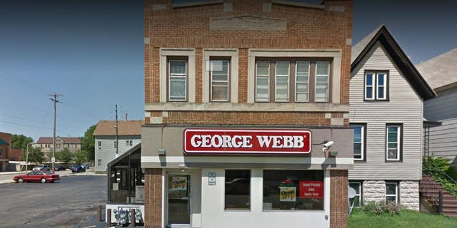 A customer at a George Webb in Milwaukee, seen above, punched an employee and only backed off when another server pulled out a handgun.