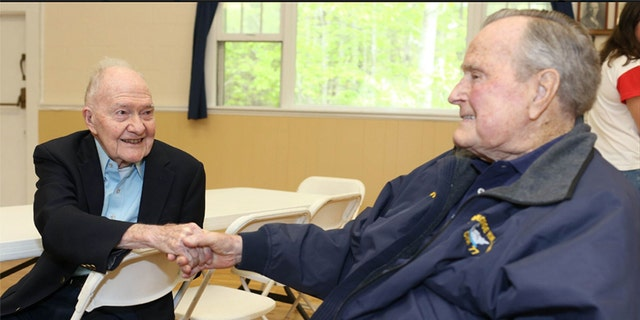 George H.W. Bush was pictured Saturday at a pancake breakfast.