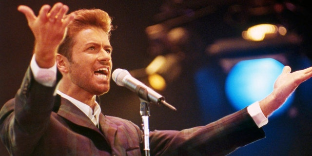 George Michael performs at 1993's 'Concert of Hope' to mark World AIDS Day at Wembley Arena in London.