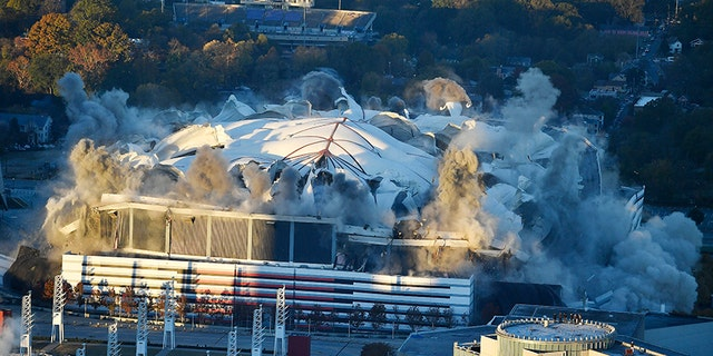 The Georgia Dome is destroyed in a scheduled implosion on Nov. 20, 2017. It was not only the home of the Atlanta Falcons but also the site of two Super Bowls, 1996 Olympics Games events and NCAA basketball tournaments.