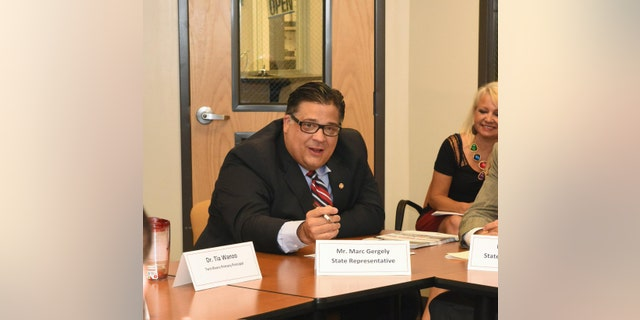 July 14, 2015: Then-Pennsylvania state Rep. Marc Gergely discussing education funding with other legislators.