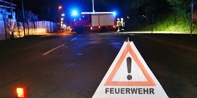 July 18, 2016: A firetruck blocks a road in Wuerzburg, southern Germany, after a man attacked people on a train.