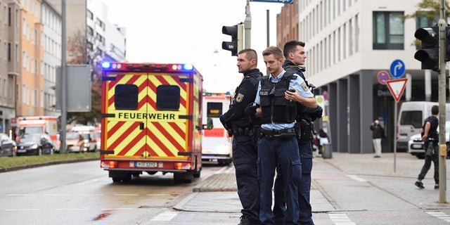 German police took a suspect into custody but it was not immediately clear if it was the man who carried out the stabbing attack.