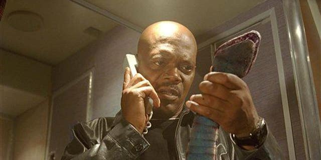 """Samuel L. Jackson in a scene from """"Snakes On A Plane."""""""