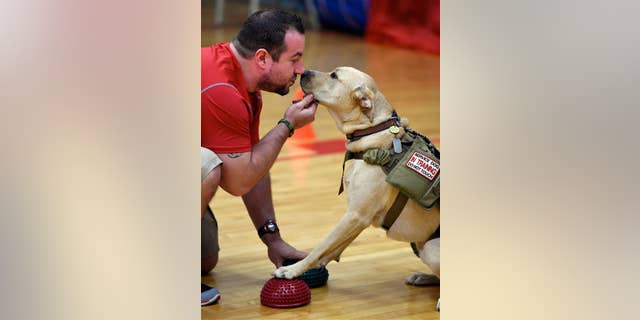 An owner gets nose to nose with his service dog.