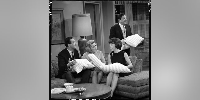 """From left: Jerry Paris (as Jerry Helper), Rose Marie (as Sally Rogers), Ann Morgan Guilbert (as Millie Helper), and Morey Amsterdam (as Buddy Sorrell) in the """"Dick Van Dyke."""" Image dated December 22, 1964."""