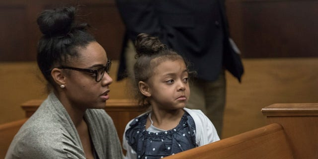 Shayanna Jenkins with the couple's daughter, Avielle Jenkins-Hernandez.
