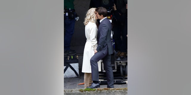 "Tom Cruise seen kissing Vanessa Kirby during a scene for ""Mission Impossible 6"" in Paris, France, on May 2, 2017."