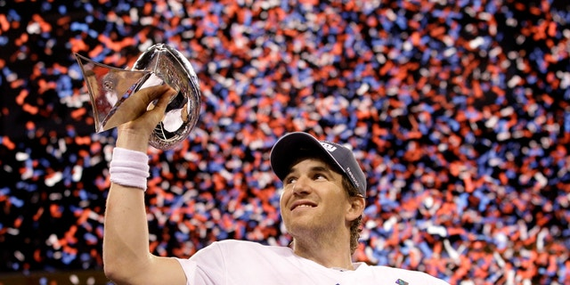 Eli Manning celebrating the Giants' last Super Bowl victory in February 2012.