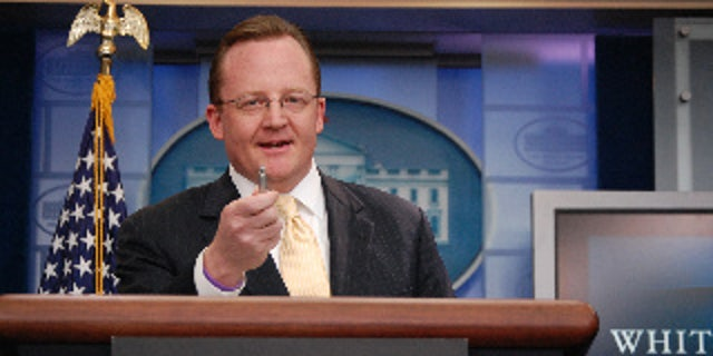 Robert Gibbs in the White House Briefing Room