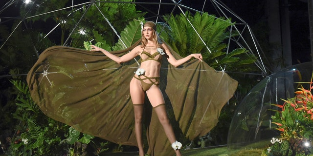 Gigi Hadid models the Savage X Fenty line during Rihanna's presentation.