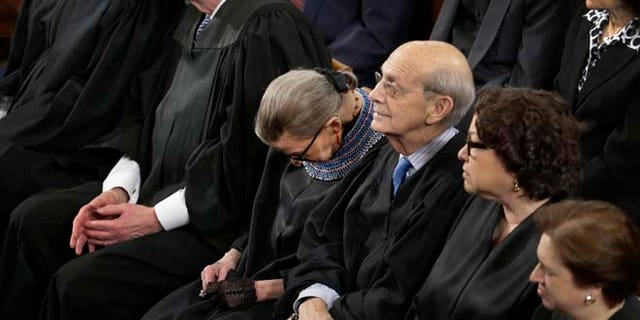 Jan. 20, 2015: Supreme Court Justice Ruth Bader Ginsburg is shown during President Obama's State of the Union address.