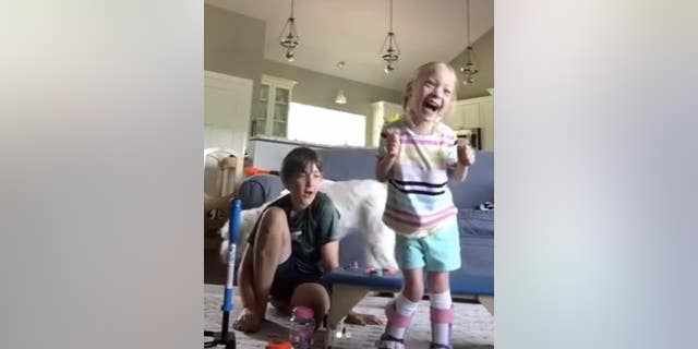 A little girl with cerebral palsy took her first steps this week, and her reaction was priceless.