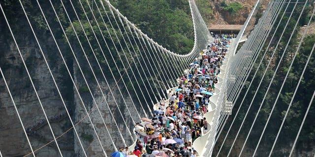 Hundreds flock to the opening of the world's tallest, highest glass bottom bridge in Zhangjiajie, Hunan Province, China, August 20, 2016.
