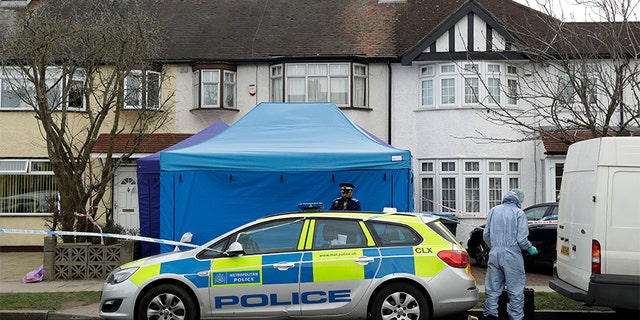 March 14, 2018: Police work at the scene outside a house in New Malden, southwest London, which has been sealed off after Russian businessman Nikolai Glushkov was found dead.