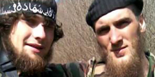 "Gochiyaev Biaslan, left, is another jihadist ""betrayed"" by Karaeva, ISIS said."