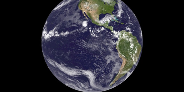 This image of Earth from space was acquired from the GOES-14 satellite on September 24, 2012 at 1745z, the first image from GOES-14 while acting as GOES East, the replacement of GOES-13.