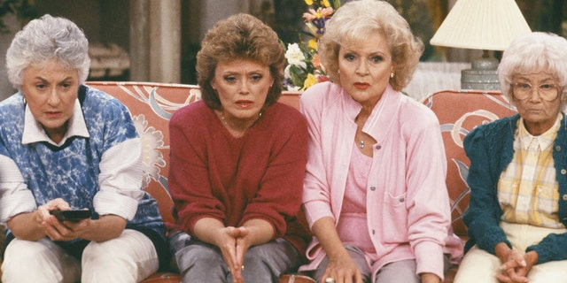 "Bea Arthur as Dorothy Petrillo-Zbornak, Rue McClanahan as Blanche Devereaux, Betty White as Rose Nylund, Estelle Getty as Sophia Petrillo on ""The Golden Girls."""