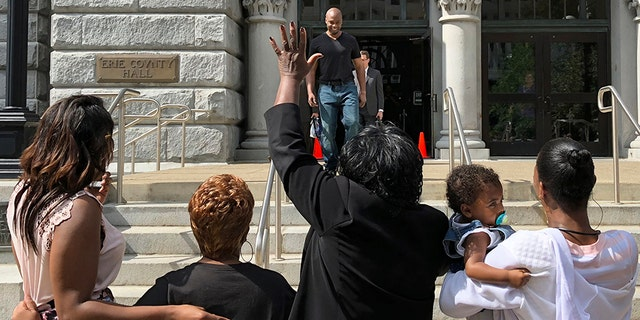 Dixon was met with cheers after he left a courthouse in Buffalo, N.Y. on Wednesday.