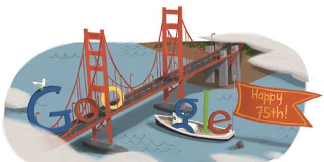 A 2012 Google Doodle celebrates the 75th anniversary of the Golden Gate Bridge.