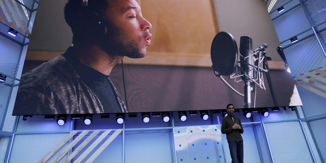 Google CEO Sundar Pichai speaks on stage during the annual Google I/O developers conference in Mountain View, California, May 8, 2018. REUTERS/Stephen Lam  NO RESALES. NO ARCHIVES - RC1744358DD0