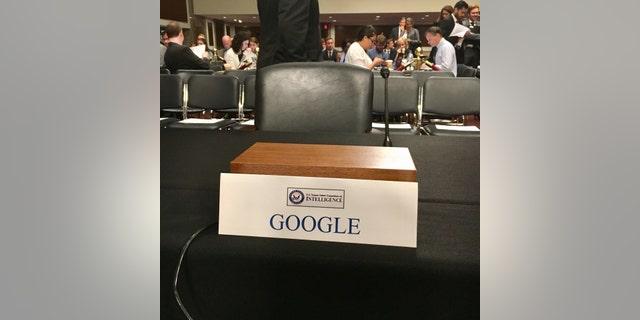 The empty chair at Wednesday's Senate Intelligence Committee hearing (Sen. Mark Warner, via Twitter)
