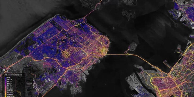 A high resolution map of nitrogen dioxide emissions across the San Francisco Bay Area, from April 2016 to October 2017, generated by Aclima's environmental intelligence platform..