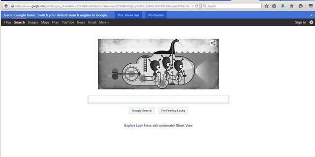 The April 21 Google Doodle honored the search for the Loch Ness Monster. Screenshot from Google.com.