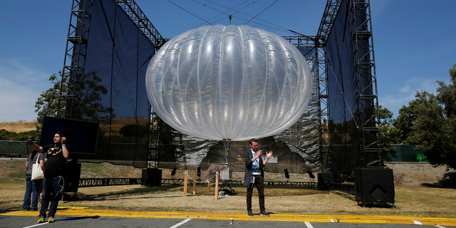 A Project Loon internet balloon at the Google I/O 2016 developers conference in Mountain View, Calif., May 19, 2016. (REUTERS/Stephen Lam)