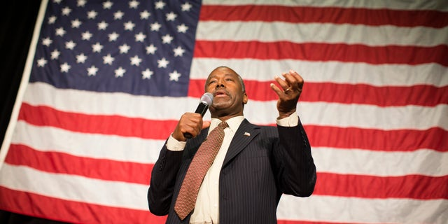 Republican presidential candidate Ben Carson speaks during a campaign rally at the Sharonville Convention Center, Tuesday, Sept. 22, 2015, in Cincinnati. (AP Photo/John Minchillo)