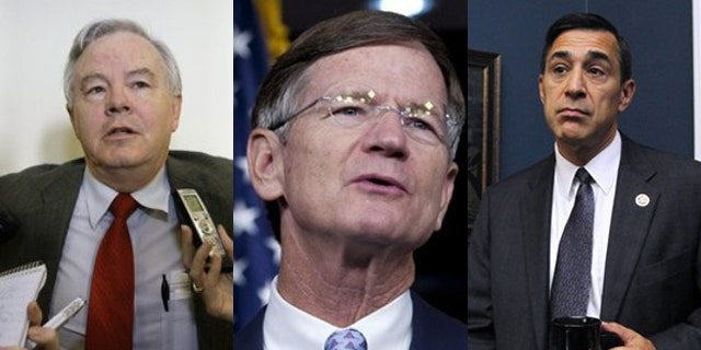 Shown here are Rep. Joe Barton, R-Texas, left; Rep. Lamar Smith, R-Texas, center; and Rep. Darrell Issa, R-Calif. (AP Photos)