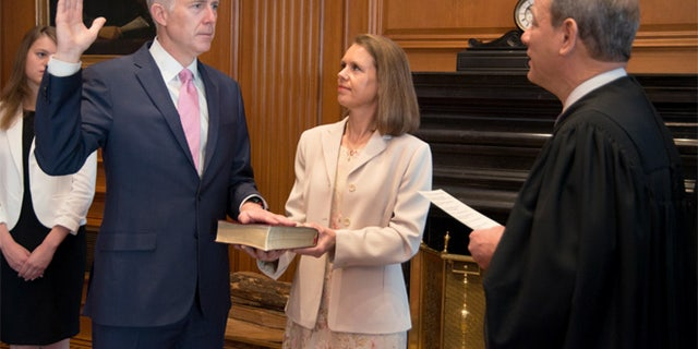 April 10, 2017: Neil Gorsuch takes the first of two oaths for the Supreme Court.