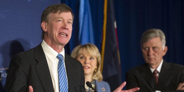 Feb. 22, 2014: Colorado Gov. John Hickenlooper, left, with Arkansas Gov. Mike Beebe, right, and Oklahoma Gov. Mary Fallin at an NGA's meeting in Washington, D.C.