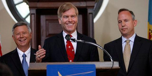 July 13, 2012: (Fr. left) Govs. Dave Heineman, R-Nebraska; Bob McDonnell, R-Virginia;  Jack Markell, D-Delaware,  at the National Governors Association meeting in Williamsburg, Va.