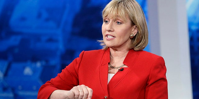 FILE- In this May 18, 2017 file photo, New Jersey Lt. Gov. Kim Guadagno speaks during a Republican gubernatorial primary debate in Newark, N.J. New Jersey voters are heading to the polls to pick their candidates to succeed Republican Gov. Chris Christie on Tuesday, June 6. (AP Photo/Julio Cortez, Pool, File)