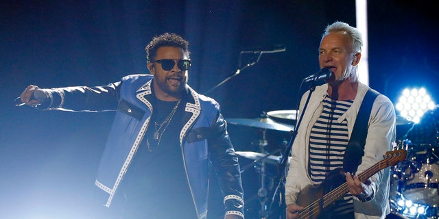 Sting and Shaggy sang a politically charged song at the 2018 Grammys.