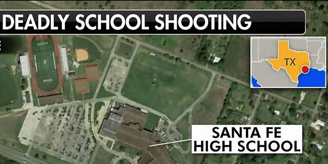 A map showed the location of the school shooting in Santa Fe, Texas.