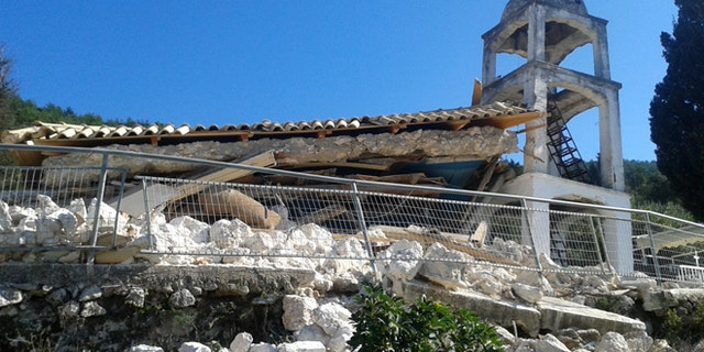 Nov. 17, 2015: A Greek Orthodox church is seen destroyed after a morning earthquake at the village of Athani on the western Greek island of Lefkada.