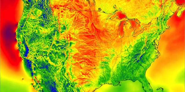 A high-resolution map based on NOAA weather data shows a snapshot of wind energy potential across the United States in 2012. (Credit: Image by Chris Clack/CIRES