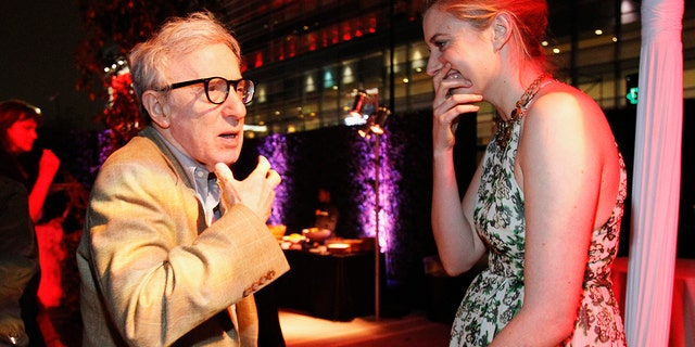 """Greta Gerwig (right) is among many in Hollywood who said they will no longer work with Woody Allen. The actress worked with Allen in the 2012 film """"To Rome With Love."""""""