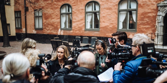 April 12 2017: Ellinor Grimmark speaks with members of the media after the Swedish Labor Court ruled that her freedom of conscience had not been violated.